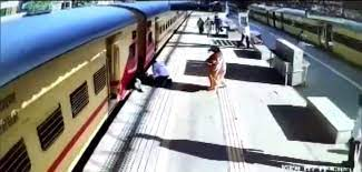 Watch: CCTV captures spooky footage of woman stumbling from moving train in Mumbai